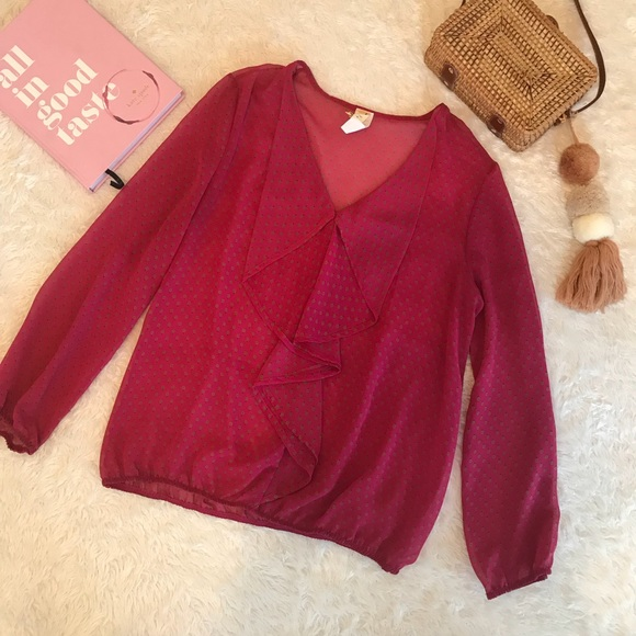 Francesca's Collections Tops - Francesca's Pink Sheer Blouse